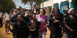 Cherie Blair in Kenya with the women's group that her foundation is sponsoring.