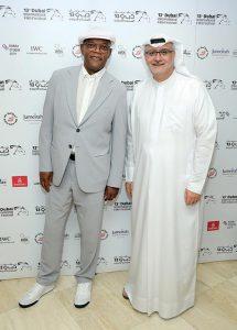 Samuel L. Jackson with DIFF Artistic Director Masoud Amralla Al Ali in Dubai.